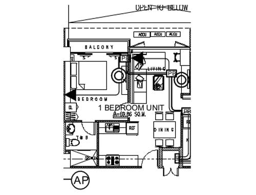 セブ島のアリシアアパーテルの客室 ワンベッドルームの見取り図