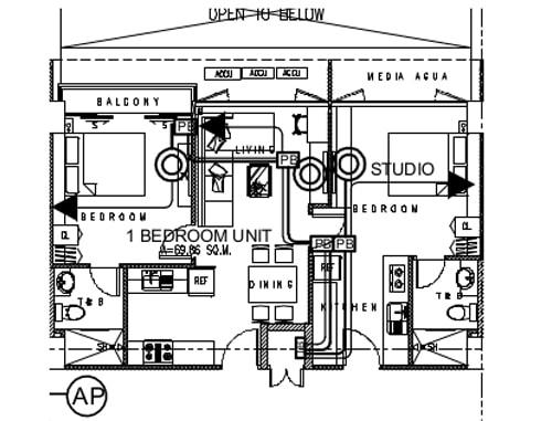 セブ島のアリシアアパーテルの客室 ツーベッドルームの見取り図